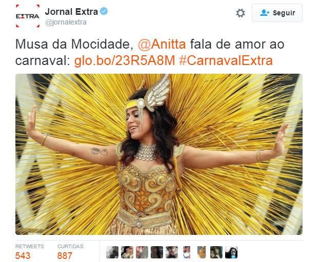 ec617d71ebb Anitta magicamente muda de opinião sobre carnaval depois de virar ...