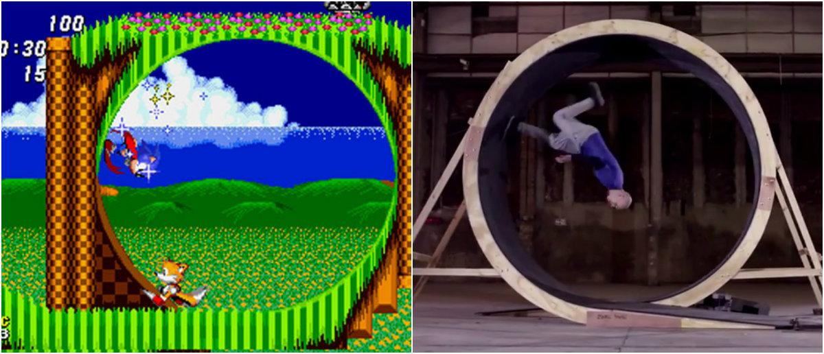 Homem Sonic completa loop correndo a pé