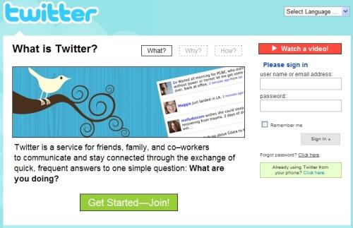 antiga página inicial do Twitter, não muito explicativa