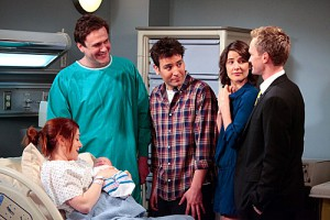 """The Magician's Code Part One"" -- The gang rallies around Lily (Alyson Hannigan) to look at her new born baby. (L-R) Marshall (Jason Segel), Ted (Josh Radnor), Barney (Neil Patrick Harris) and Robin (Cobie Smulders), on HOW I MET YOUR MOTHER, Monday, May 14 (8:00-8:30 PM, ET/PT) on the CBS Television Network.   ©2012 Fox Television. All Rights Reserved."