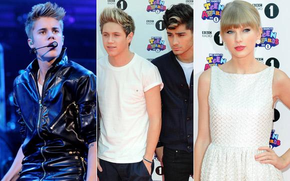 Foto:Bieber, One D Taylor Swift/montagem
